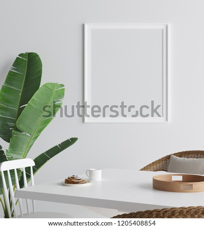 Mock up poster in interior background, Scandinavian style, 3D render #1205408854