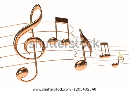 3D illustration music gold notes symbol score white background with clipping path.