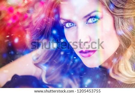 colorful woman portrait #1205453755