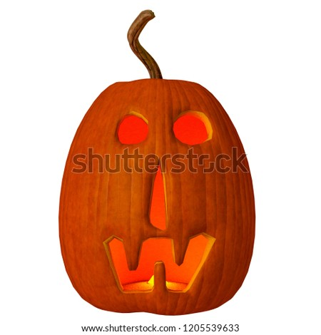pumpkin jack-o-lantern in a white background will put some fun in yours creations, 3d illustration #1205539633