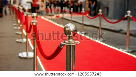 red carpet and barrier on entrance before opening ceremony #1205557243