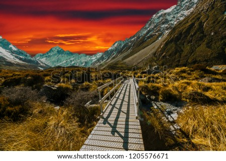 Pedestrian walkway with sunset background #1205576671