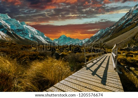 Pedestrian walkway with sunset background #1205576674