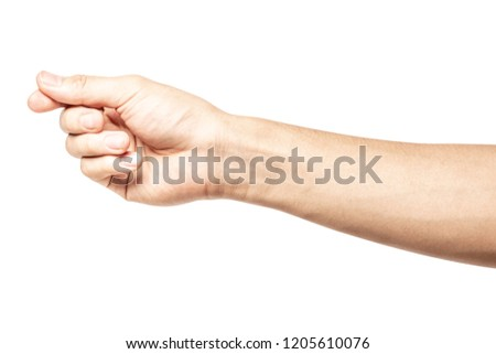 Hand hold virtual business card, credit card or blank paper isolated on white background with clipping path. #1205610076