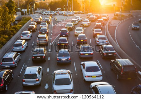 Cars stuck in traffic at an intersection Royalty-Free Stock Photo #120564112
