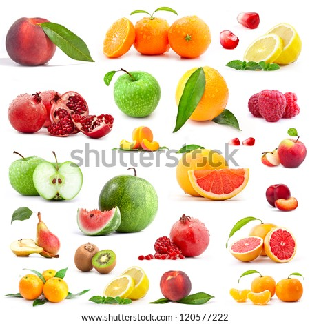 Collection of fruits isolated on white background #120577222