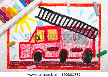 Colorful hand drawing: red fire truck with a ladder