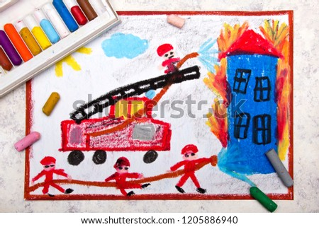 Colorful hand drawing: red fire truck with a ladder. Firefighters extinguish a fire