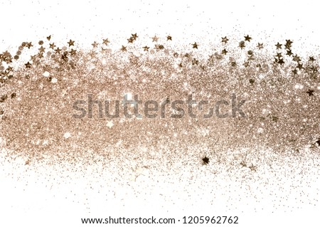 Rose gold glitter and glittering stars on white background in vintage colors #1205962762