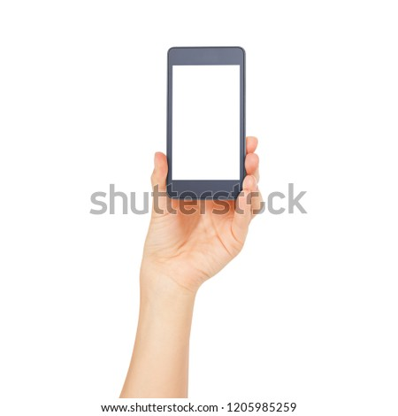 Woman hand holding the white smartphone isolated. Female hands showing smart phone of blank white touch screen, front view. #1205985259