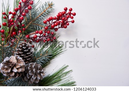 White holiday background with pinecones and holly Royalty-Free Stock Photo #1206124033