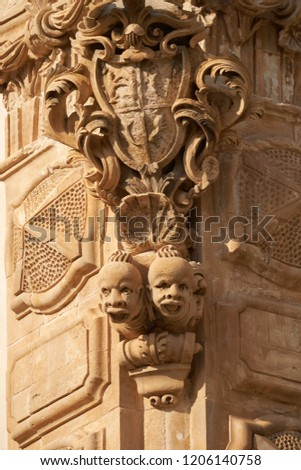 Italy, Sicily, Scicli (Ragusa province), the Baroque Beneventano Palace facade with ornamental statues #1206140758