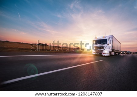 Truck with container on highway, cargo transportation concept. Shaving effect. #1206147607