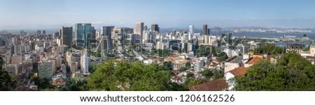 Panoramic aerial view of downtown Rio de Janeiro - Rio de Janeiro, Brazil #1206162526