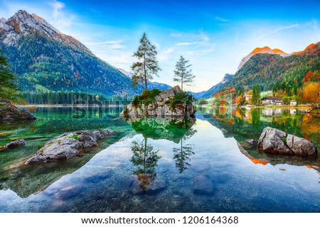 Fantastic autumn sunrise of Hintersee lake. Beautiful scene of trees on a rock island. Location: resort Ramsau, National park Berchtesgadener Land, Upper Bavaria, Germany Alps, Europe #1206164368