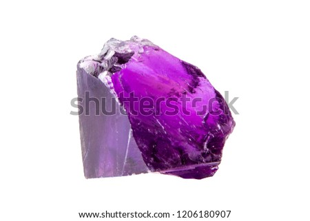 Semi-precious stone mineral isolated on white background, amethyst #1206180907