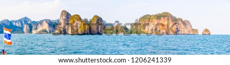 Panoramic picture of the limestone rocks in the Krabi region of Thailand