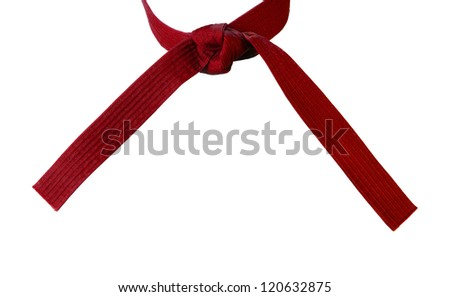 Tied Karate red belt closeup isolated on white background #120632875