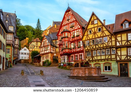 Colorful half-timbered houses in Miltenberg historical medieval Old Town, Bavaria, Germany #1206450859