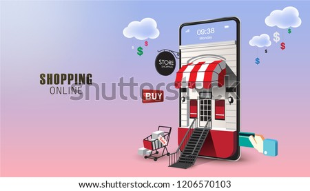Shopping Online on Website or Mobile Application Vector Concept Marketing and Digital marketing. Horizontal view. VECTOR version2