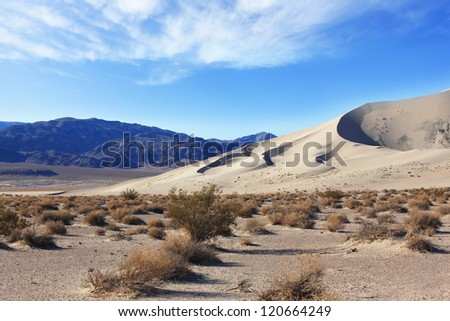 Cold sands of the famous Eureka - a giant sand dune in California. Early morning in the desert #120664249
