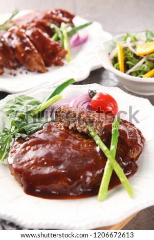 Steak on plate #1206672613