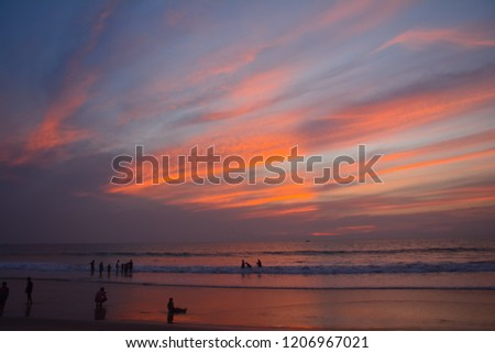 Beautiful colourful painted sunset sky #1206967021