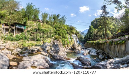 Panorama of Waterfall in Cat Cat village near Sapa, Lao Cai, Vietnam in a summer day #1207118797