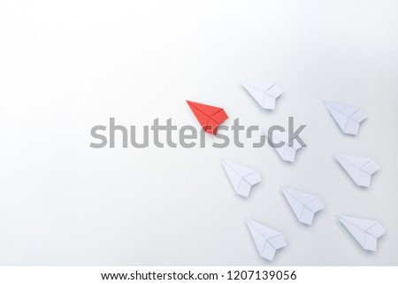 Leadership and Success concept, Red paper plane leader on white background. #1207139056