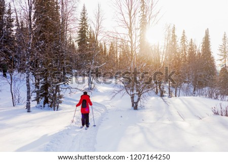 girl in a red jacket skiing in the woods in winter #1207164250