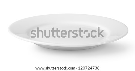 Empty plate isolated on a white background Royalty-Free Stock Photo #120724738