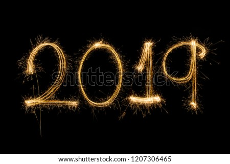 Happy new year 2019  written with Sparkle firework #1207306465