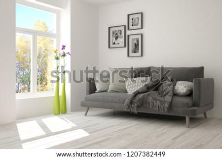 White modern room with sofa. Scandinavian interior design. 3D illustration #1207382449