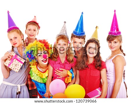 Birthday party group of teen people with clown. Isolated. #120739066
