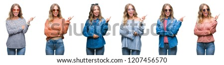Young beautiful young woman wearing casual look over white isolated background with a big smile on face, pointing with hand and finger to the side looking at the camera. #1207456570