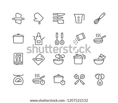 Simple Set of Cooking Related Vector Line Icons. Contains such Icons as Kitchen Utensils, Boiling and Frying Time, Cookbook and more. Editable Stroke. 48x48 Pixel Perfect. Royalty-Free Stock Photo #1207522132