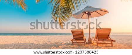 Beautiful tropical beach banner. White sand and coco palms travel tourism wide panorama background concept. Amazing beach landscape  #1207588423