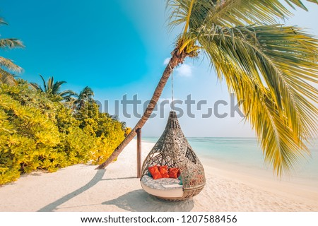 Beautiful tropical Maldives beach under cloudy sky with swings or hammock on coconut palm. Luxury vacation concept #1207588456