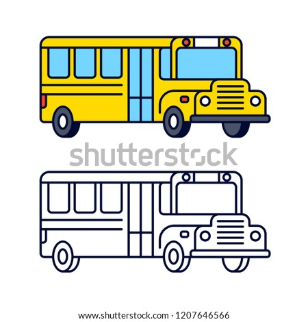 Yellow school bus line icon, color and black and white. Isolated clip art illustration in flat cartoon style.