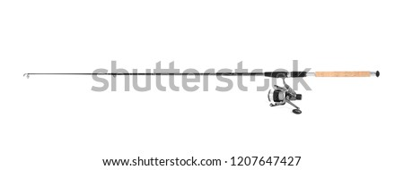 Modern fishing rod with reel on white background #1207647427
