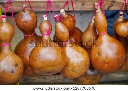 Dried bottle gourd, Calabash gourd, Flowered gourd, White flowered gourd #1207708570