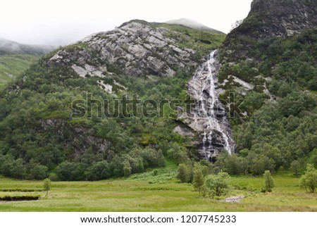 Spectacular 120m long Steall Waterfall, An Steall Ban or Steall Falls, second highest in Scotland, Glen Nevis near Fort William, Lochaber, Highlands, United Kingdom #1207745233