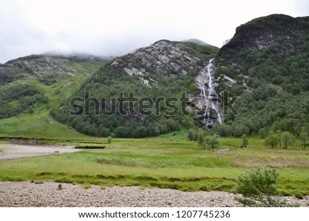 Spectacular 120m long Steall Waterfall, An Steall Ban or Steall Falls, second highest in Scotland, Glen Nevis near Fort William, Lochaber, Highlands, United Kingdom #1207745236