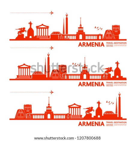 Travel to Armenia vector illustration. #1207800688