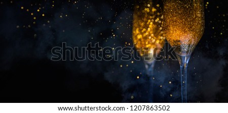 Happy New Year 2019! Christmas and New Year holidays background, winter season.  #1207863502