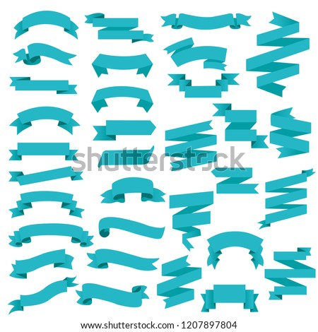 Blue Web Ribbon Big Set, Vector Illustration #1207897804