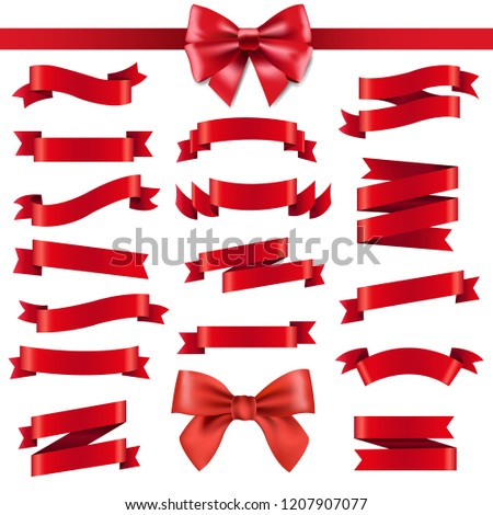 Red Ribbon And Bow With Gradient Mesh, Vector Illustration #1207907077