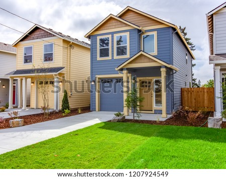 Exterior of Small New Custom Home in Oregon #1207924549