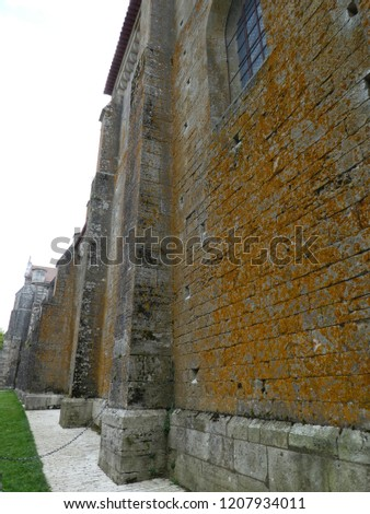 Side wall of Basilika St.-Marie-Madeleine at historical town of Vézelay. FR France. 20th July 2017 #1207934011