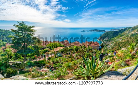 Eze village at french Riviera coast, Cote d'Azur, France Royalty-Free Stock Photo #1207997773